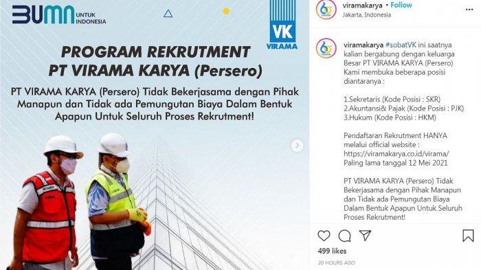 Lowongan Kerja Terbaru BUMN, PT VIRAMA KARYA (Persero) Butuh Sekretaris, Hukum dan Akuntan