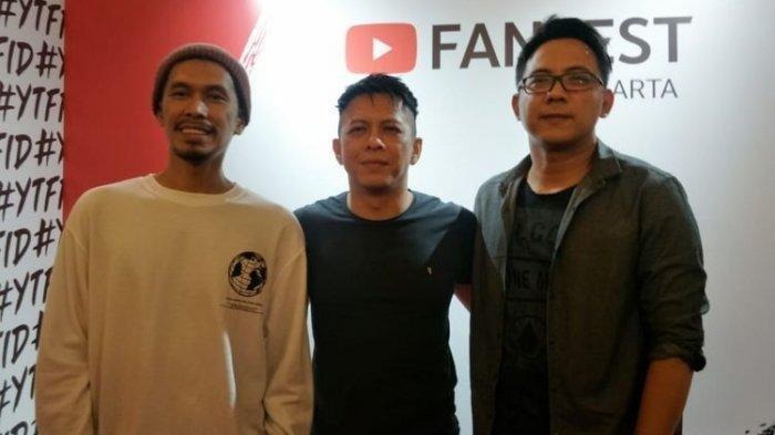 Lukman (kiri), Ariel (tengah), dan David (kanan) saat ditemui di acara YouTube Fanfest, JIExpo Kemayoran, Jakarta Pusat, Jumat (29/11/2019)