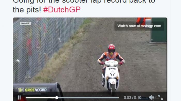 Marquez Membalap Pakai Skuter di GP Belanda