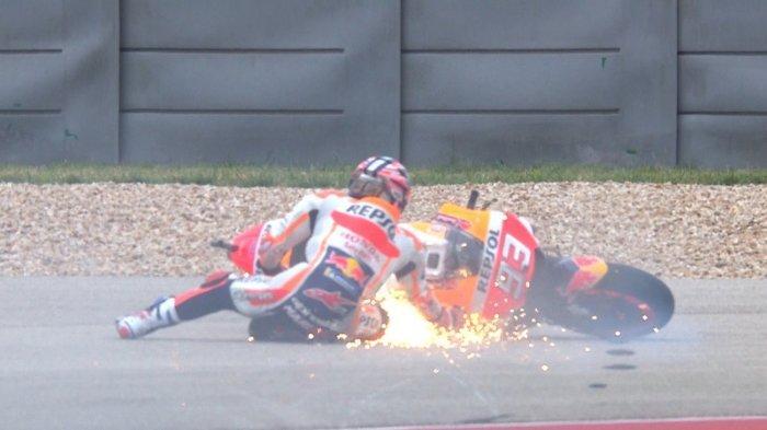 Marc Marquez Sempat Terjatuh tapi Tetap Tercepat di Kualifikasi MotoGP Americas