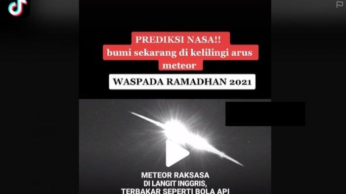 Bumi Dikelilingi Arus Meteor saat Ramadhan, Videonya Jadi Viral, Lapan Akui dan Ini Penjelasannya