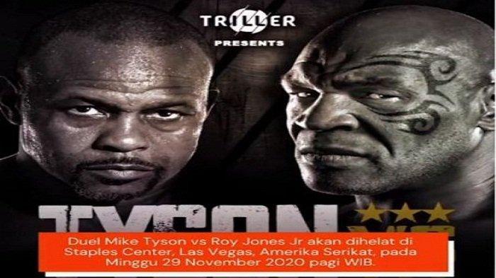 LINK LIVE STREAMING Mike Tyson Bertarung Lawan Roy Jones Jr, Mulai Pukul 13.00 WIB