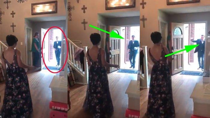 Cewek Ini Tunggu Pasangan Kencan Datang, Saat Buka Pintu Pria Ini Kaget