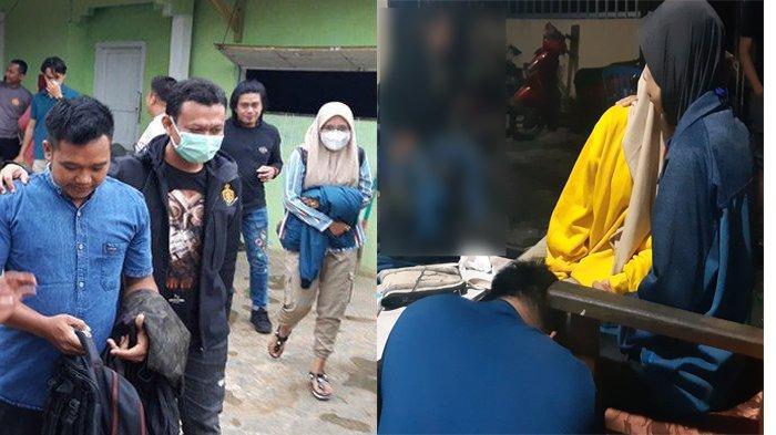 Kolase Bangka Pos -  Nugraha dan Mawar ketika digiring dari kediamannya di Lampung dan saat bertemu Ibu Mawar, Sabtu (27/3/2021)