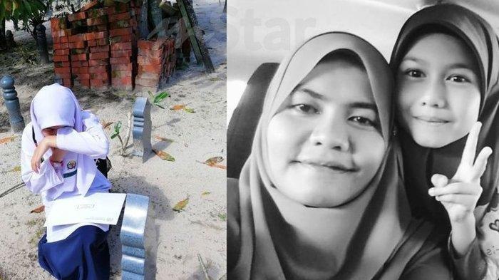 Nur Aqilah Menangis di Makam Ibu Ceritakan Dapat Nilai Rapor Bagus, Kisahnya Buat Netizen Haru