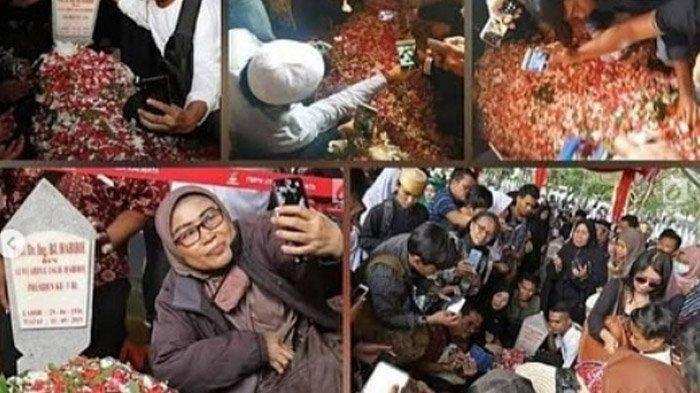 Anggun dan Dewi Gita Sedih, Tingkah Peziarah Berebut Selfie Sampai Nisan Miring di Makam Habibie