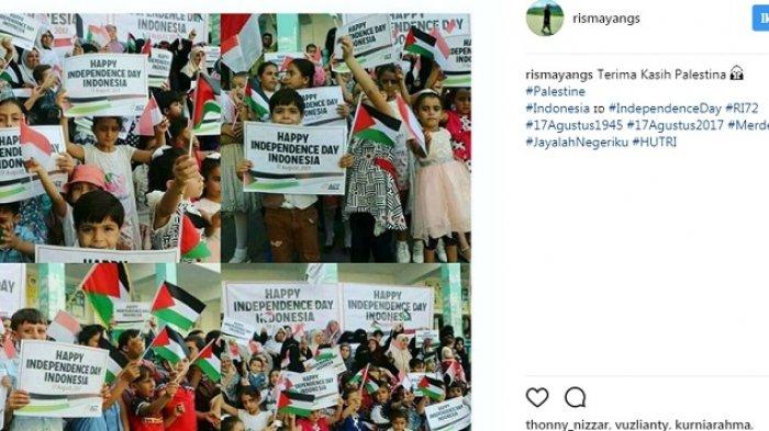 Merinding, Begini Wajah-wajah Anak Palestina Kibarkan Bendera Merah Putih untuk HUT RI