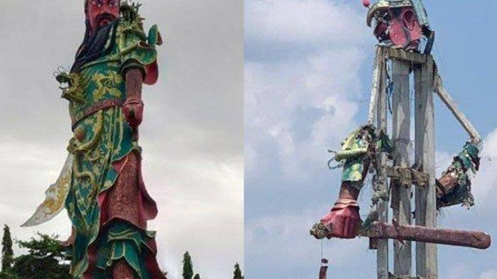 Patung Dewa Raksasa di Kelenteng Kwan Sing Bio Tubah Tiba-tiba Runtuh, Kejutkan Warga Sekitar