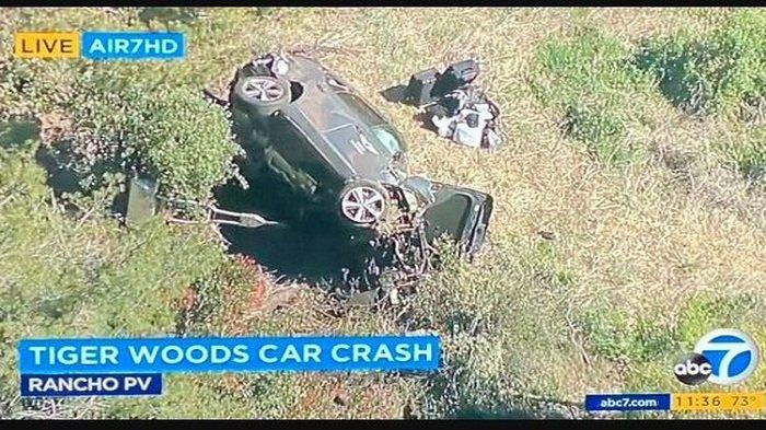 Bintang Golf Dunia Tiger Woods Kecelakaan Mobil Tunggal, Kini Harus Dioperasi di Rumah Sakit