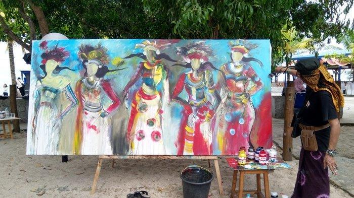 Coretan Kuas Mas Yos Ciptakan Lukisan Penari