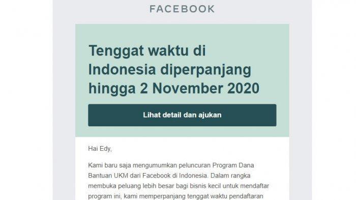 Pemberitahuan program facebook