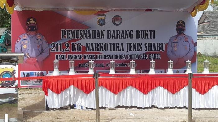 BREAKING NEWS, Hari Ini 211 Kilogram Sabu Tangkapan Dit Narkoba Polda Bangka Belitung Dimusnahkan