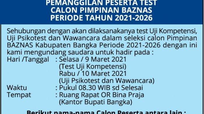 Pengumuman Pemanggilan Peserta Test Calon Pimpinan BAZNAS Periode Tahun 2021-2026