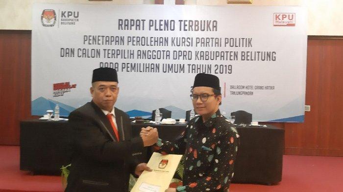 KPU Kabupaten Belitung Tetapkan Perolehan Kursi dan Calon Anggota DPRD Terpilih Pemilu 2019