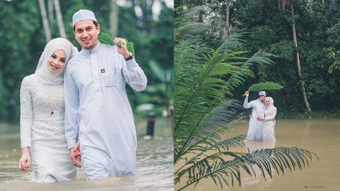 Viral Foto Pernikahan Pengantin Tetap Romantis di Dikepung Banjir, Istri Pertama Malah Kirimkan Doa
