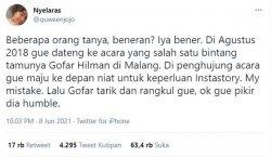 Pernyataan akun twitter @quwenjojo mengaku dilecehkan Gofar