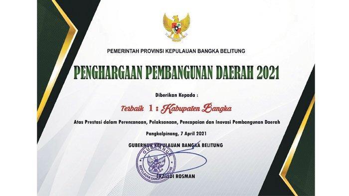 Terbaik di Babel dalam Pembangunan Daerah, Pemkab Bangka 7 Kali Berturut Raih Penghargaan - piagam-penghargaan-pembangunan-daerah-2021.jpg