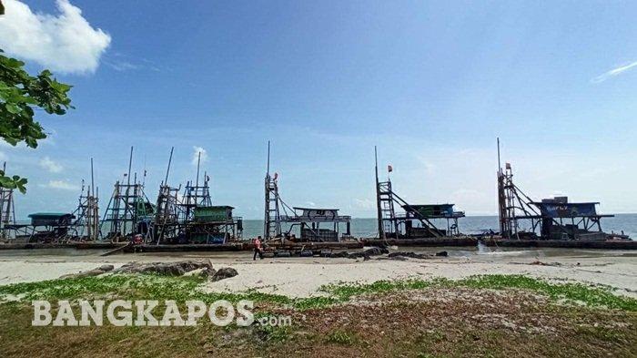 Penertiban Tambang Laut Toboali, 8 Ponton Isap Produksi Dibawa Ke Pantai Laut Nek Aji