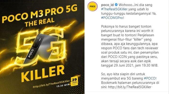 Poco M3 Pro 5G akan dirilis pada Selasa, 29 Juni 2021 di Indonesia