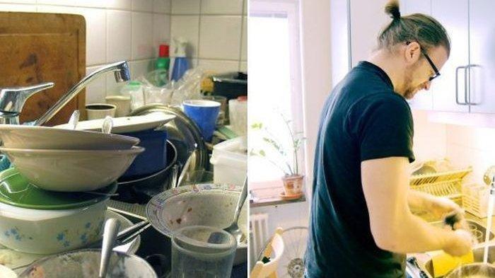 pria bantu istri selesaikan pekerjaan rumah tangga