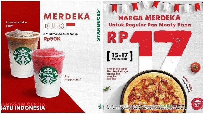 Promo Pizza Hut, McDonalds, Starbucks hingga KFC saat HUT ke-75 Kemerdekaan RI 17 Agustus 2020:
