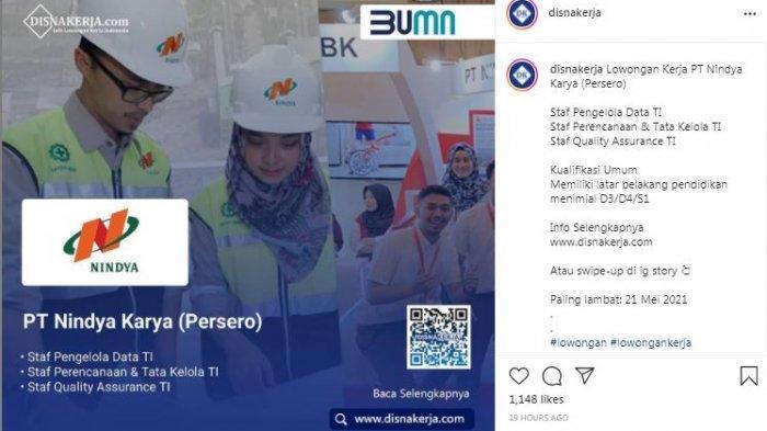 Anak Perusahaan BUMN PT Nindya Karya Buka Lowongan Kerja, Simak Persyaratannya.