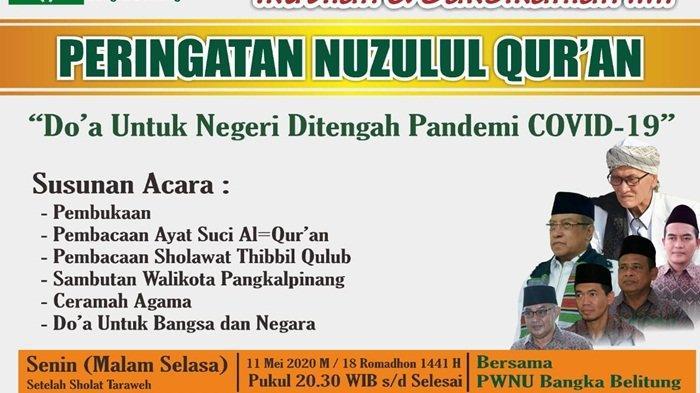 PWNU Babel Peringati Nuzulul Quran Live Streaming Youtube NU Babel dan UJS Channel