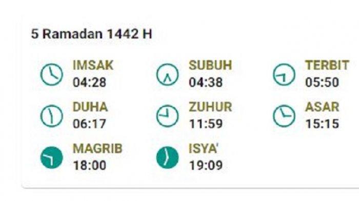 Jadwal Imsak dan Buka Puasa 5 Ramadhan di Kabupaten Bangka, Sungailiat, Sabtu 17 April 2021