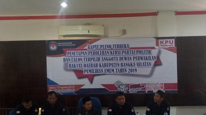 KPU Bangka Selatan Gelar Pleno Penetapan Perolehan Kursi Parpol dan Caleg DPRD Terpilih