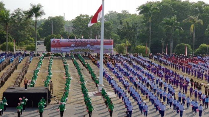 Ribuan Orang Terlibat Pemecahan Rekor MURI Tari Gemu Famire HUT ke-73 TNI di Kantor Gubernur Babel
