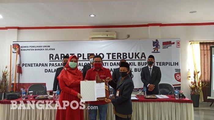 KPU Bangka Selatan Tetapkan Riza Herdavid dan Debby Sebagai Calon Bupati dan Wakil Bupati Terpilih