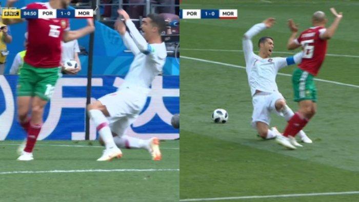 Ketahuan Diving di Kotak Penalti Maroko, Cristiano Ronaldo Ngotot Minta Wasit Cek VAR