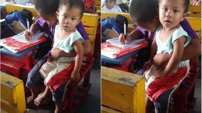 Bocah Ini Terpaksa Bawa Adiknya ke Sekolah karena Tak Ingin Bolos