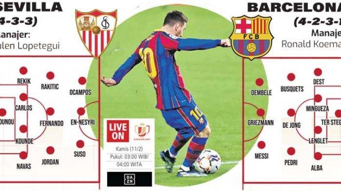 Semi Final Coppa del Rey Sevilla Vs Barcelona, Gawang Favorit Lionel Messi