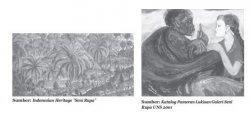 """Lukisan pemandangan alam Bali (kiri) """"TKW Pamitan"""" karya Joko Pekik (kanan)"""