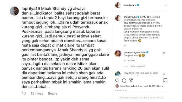 Shandy Aulia mengunggah tangkapan layar komentar seorang warganet yang menghina putrinya, Claire Herbowo.