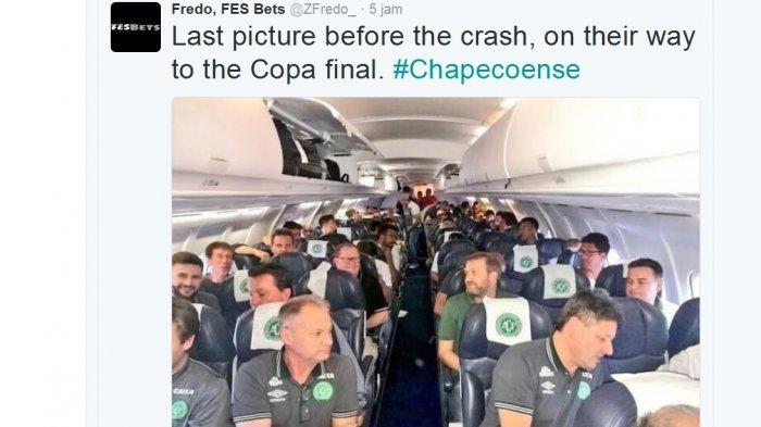 FOTO: Suasana di Pesawat Pengangkut Tim Sepak Bola Brasil Sebelum Jatuh Tewaskan 76 Orang