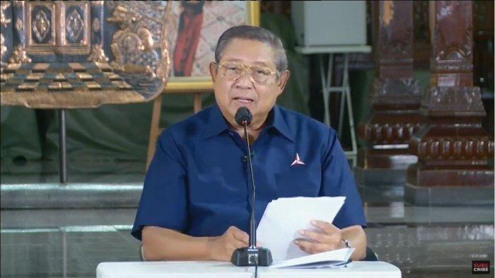 Ketua Majelis Tinggi Partai Demokrat, Susilo Bambang Yudhoyono (SBY) buka suara atas Kongres Luar Biasa (KLB) Partai Demokrat yang diselenggarakan di Deliserdang, Sumatera Utara, Jumat (5/3/2021). Moeldoko jadi Ketua Umum Partai Demokrat versi KLB, SBY: Perebutan Kepemimpinan yang Tidak Terpuji, Jumat (5/3/2021).