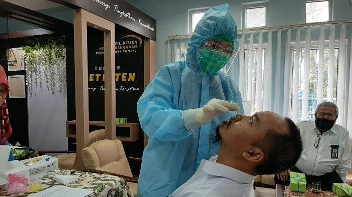 Pelaksanaan tes swab antigen masal yang digelar Kantor Wilayah Dirjen Perbendaharaa Provinsi Bangka Belitung (DJPB), Senin (2/10/2020).
