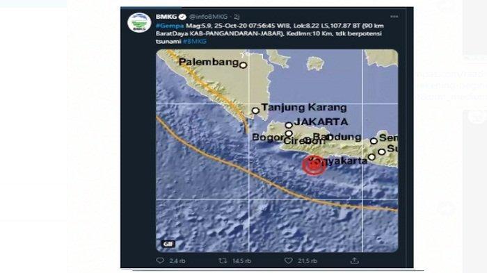Info Gempa Hari Ini: Pangandaran Diguncang Gempa Magnitudo 5,9 & 17 Wilayah ini Rasakan Guncangannya
