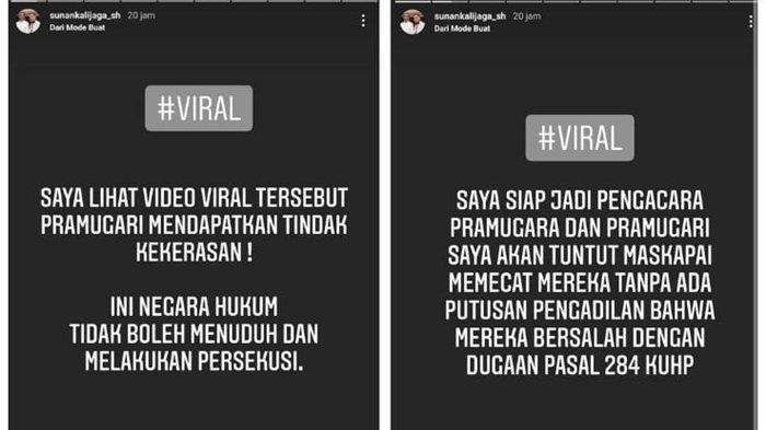 Tangkapan layar Instagram Story Sunan Kalijaga soal siap jadi pembela pramugara dan pramugari