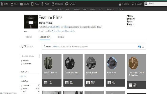 Bagi anda yang suka nonoton film tanpa ke bioskop Internet Archive jadi pilihan yang cocok.