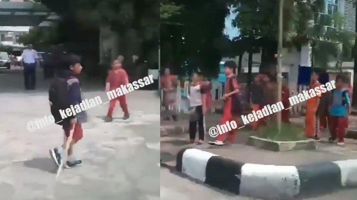 Video Tawuran Murid SD jadi Viral, Lihat Benda yang Dipegang Bocah Berjaket Ini, Edan!
