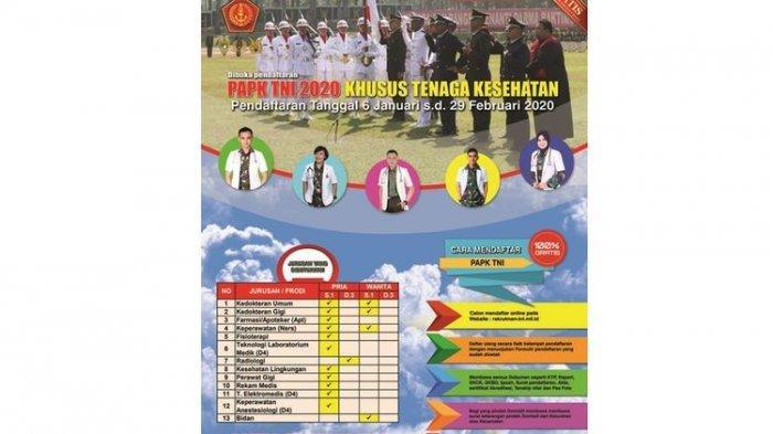 LOWONGAN KERJA - TNI Buka Lowongan Perwira Khusus Tenaga Kesehatan untuk D3 dan S1, Berminat?