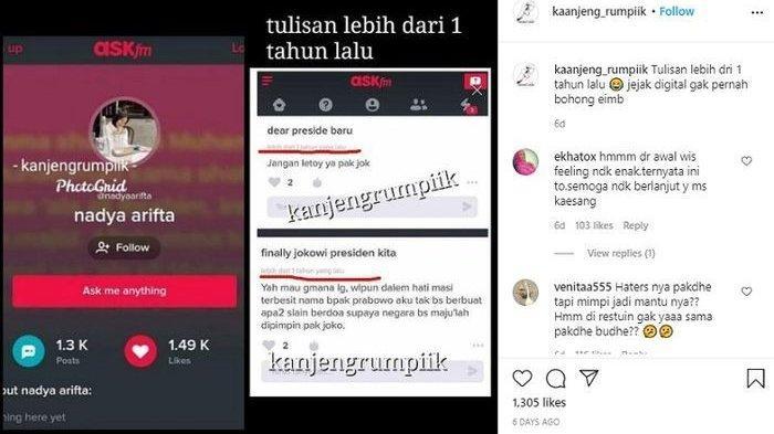 Ternyata Nadya Arifta, Gebetan Kaesang Pangarep Dulunya Pengin Prabowo yang Jadi Presiden - Postingan Nadya Arifta terkait Jokowi di masa lalu
