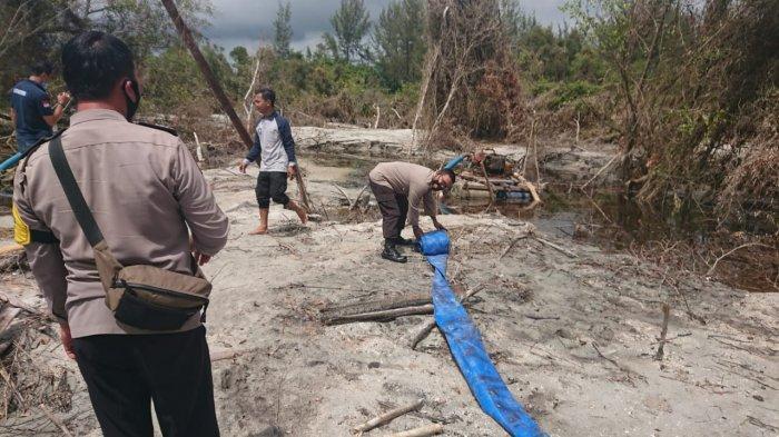 Polsek Merawang Kembali Tertibkan 5 Ponton TI Ilegal di Hutan Lindung Desa Air Anyir