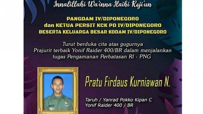 TNI Berduka, Satu Prajurit TNI Gugur Ditembak KKB Saat Patroli di Intan Jaya, Pratu Arbi Terluka