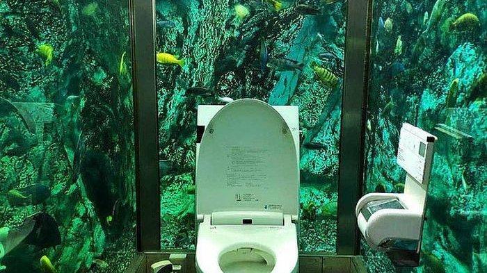 Tips Interior - Unik, Toilet di Dalam Kafe Ini Berdinding Akuarium Penuh Ikan