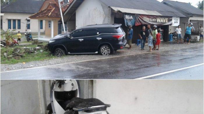 Kecelakaan lalu lintas terjadi antara mobil Toyota Fortuner warna hitam Nopol BN 1140 QO menabrak sepeda motor Honda Scoopy warna hitam putih Nopol BN 5865 QW di ruas Jalan Raya Kelurahan Kenanga Kecamatan Sungailiat Kabupaten Bangka, Kamis (05/11/2020) sore