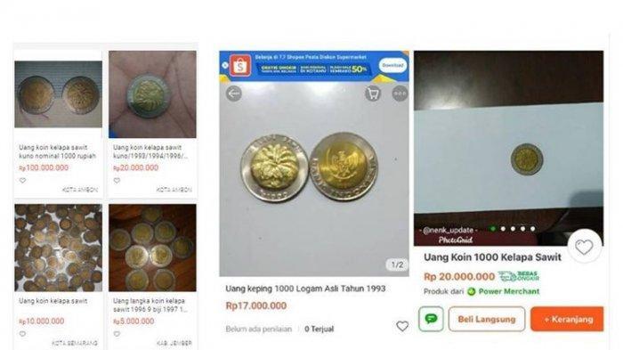 Intip Harga Uang Koin Rp 1000 Bergambar Kelapa Sawit yang Masih Dijual di Online Shop